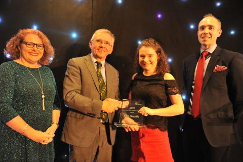 Elin Orrells receiving the College Young Learner of the Year Award
