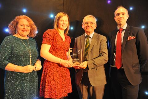 Gwen Price receiving the Farming Connect Young Learner of the Year Award